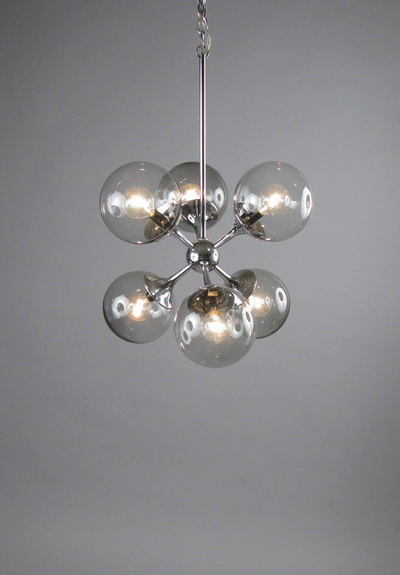 Vintage chrome and smoked glass sputnik chandelier by for Sputnik chandelier