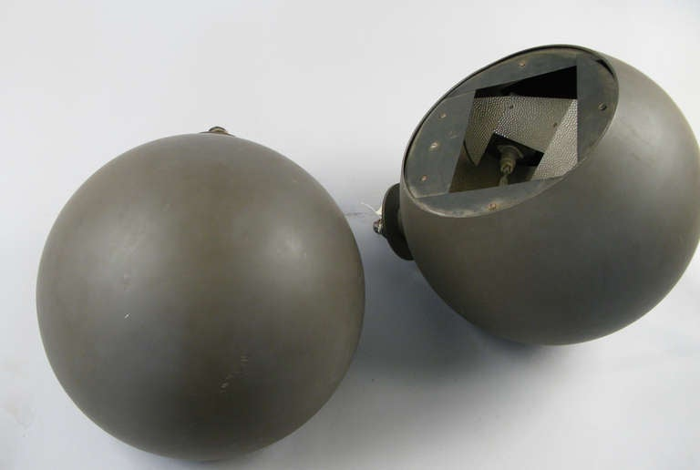 Pair of Large Sphere Wall Sconces from Avery Fisher Hall In Good Condition For Sale In Hudson, NY