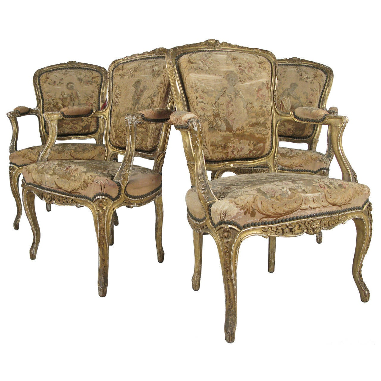 set of four antique louis xv style giltwood fauteuils at 1stdibs. Black Bedroom Furniture Sets. Home Design Ideas
