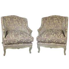 Pair of French Regency Cut-Velvet Lounge Chairs