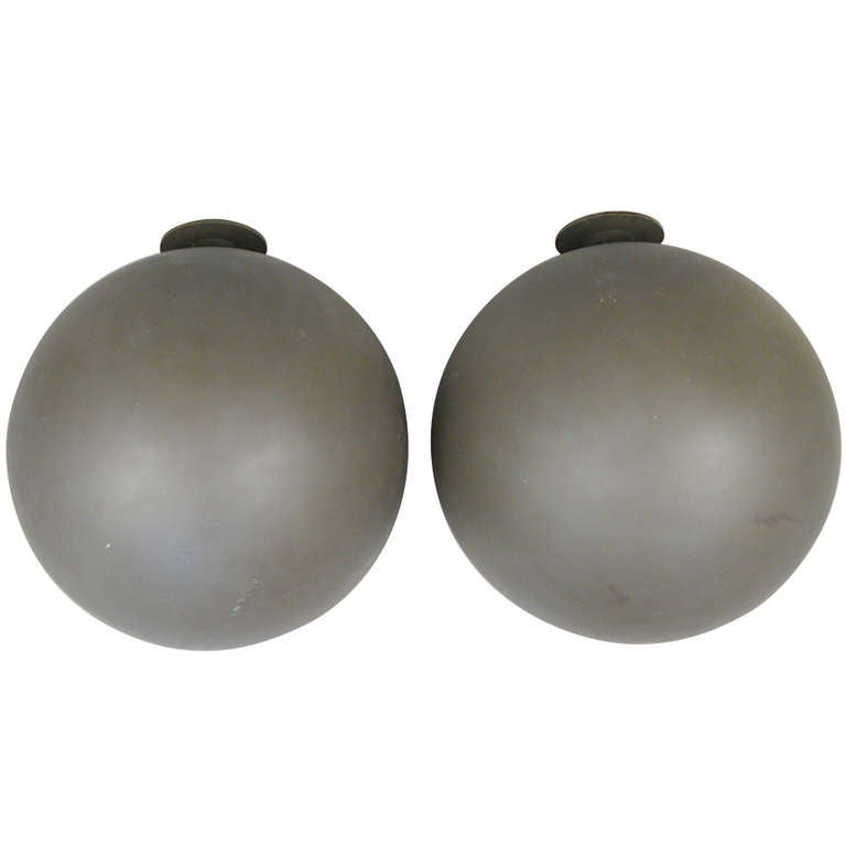 Pair of Large Sphere Wall Sconces from Avery Fisher Hall For Sale