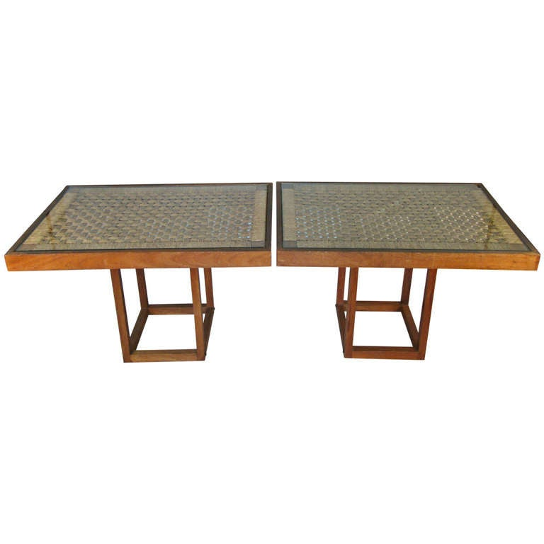 Pair of 1940 39 s woven rope convertible console and cocktail tables at 1stdibs - Console convertible table ...