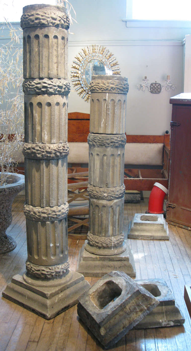 Stacked Stone Columns : Pair of antique stacked cast stone columns at stdibs