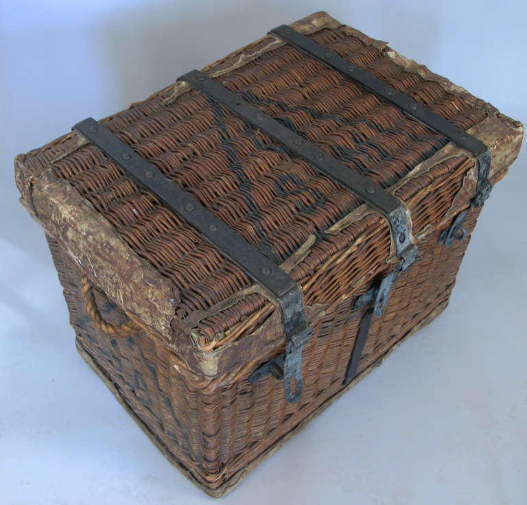 Auto Antique Wicker Trunks : Antique rattan and cast iron trunk at stdibs