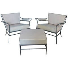 Pair of Vintage Steel Bamboo Lounge Chairs and Ottoman