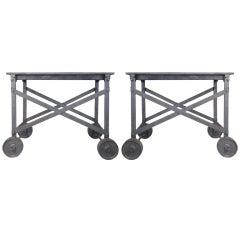 Pair of Antique Steel & Iron Rolling Tables