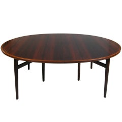 Danish Rosewood Oval Extension Dining Table by Arne Vodder