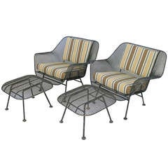 Pair of Vintage Sculptura Lounge Chairs & Ottomans by Russell Woodard