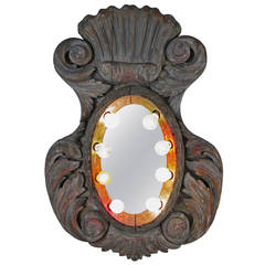 19th Century Carved and Lighted Carousel Mirror