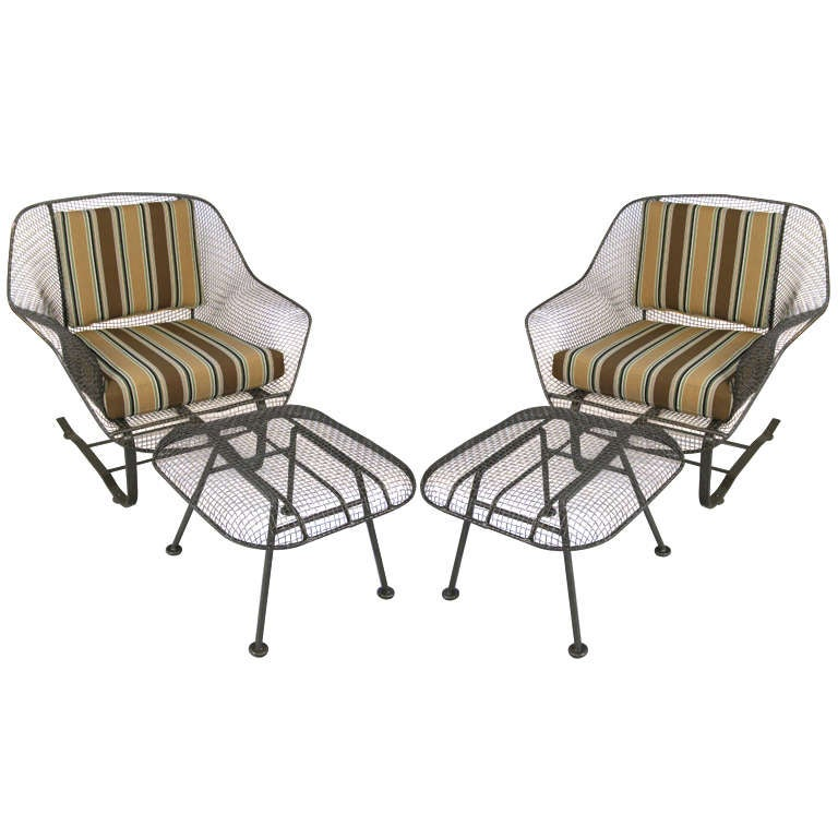 Pair Of Vintage Sculptura Garden Lounge Chairs And