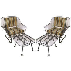 Pair of Vintage 'Sculptura' Garden Lounge Chairs & Ottomans by Russell Woodard
