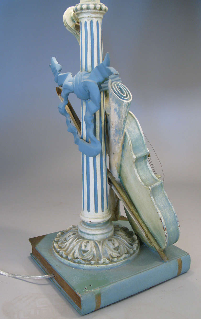 Pair Of Antique Carved Violin Lamps At 1stdibs