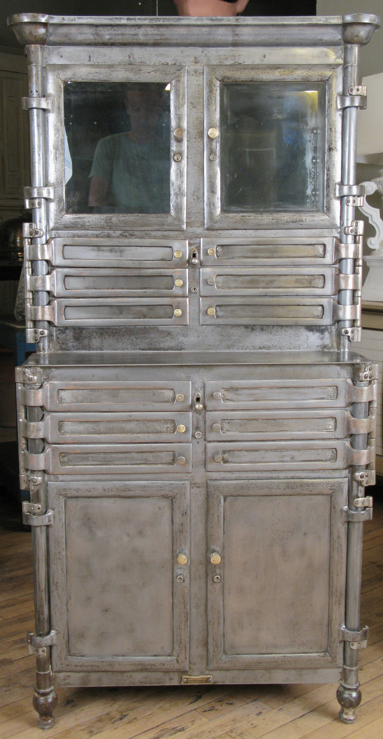 Antique Steel And Glass Medical Dental Cabinet At 1stdibs