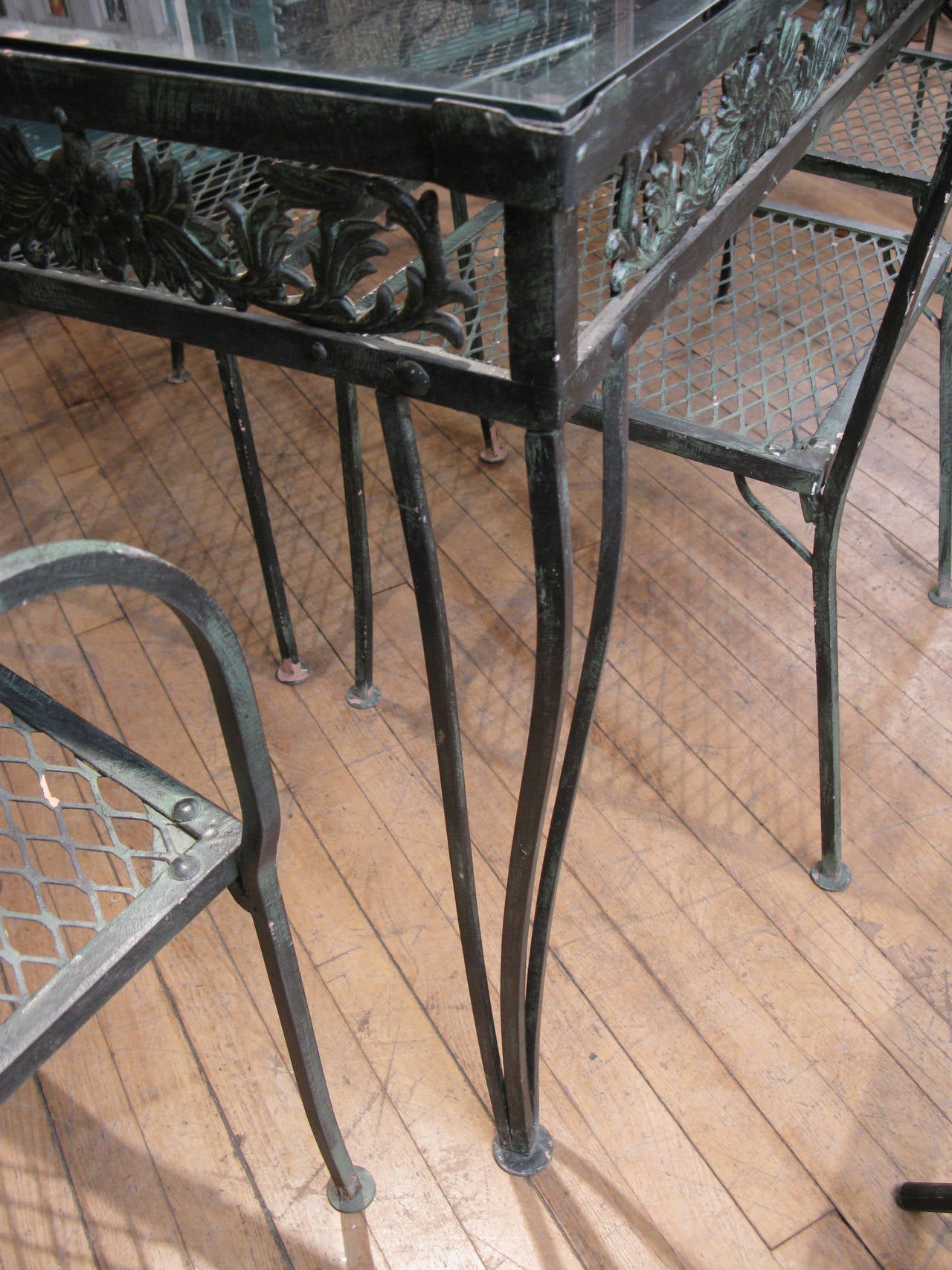 Wrought iron outdoor chairs - Vintage 1950s Wrought Iron Garden Set With Two Tables And Eight Chairs 3