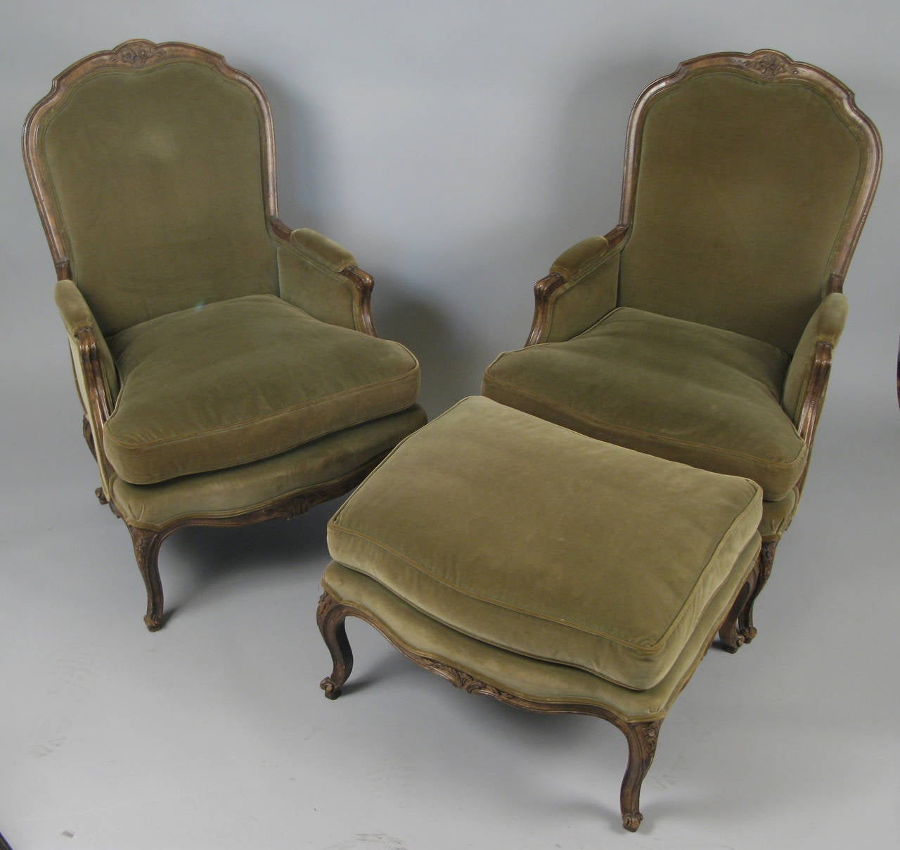 Pair Of French Style Velvet Lounge Chairs And Ottoman At