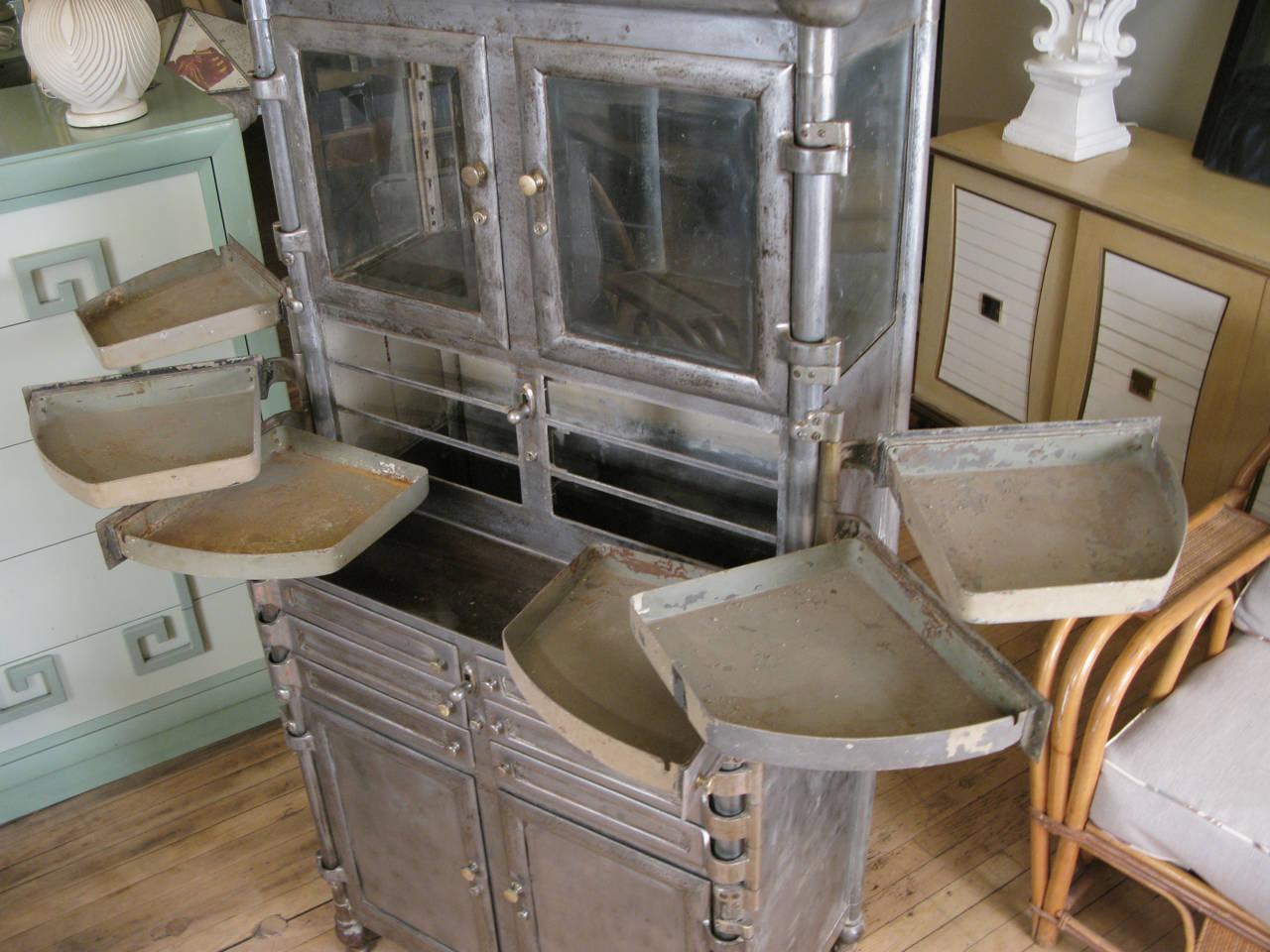 Antique Metal Dental Cabinet Antique Steel And Glass Medical Dental Cabinet At 1stdibs
