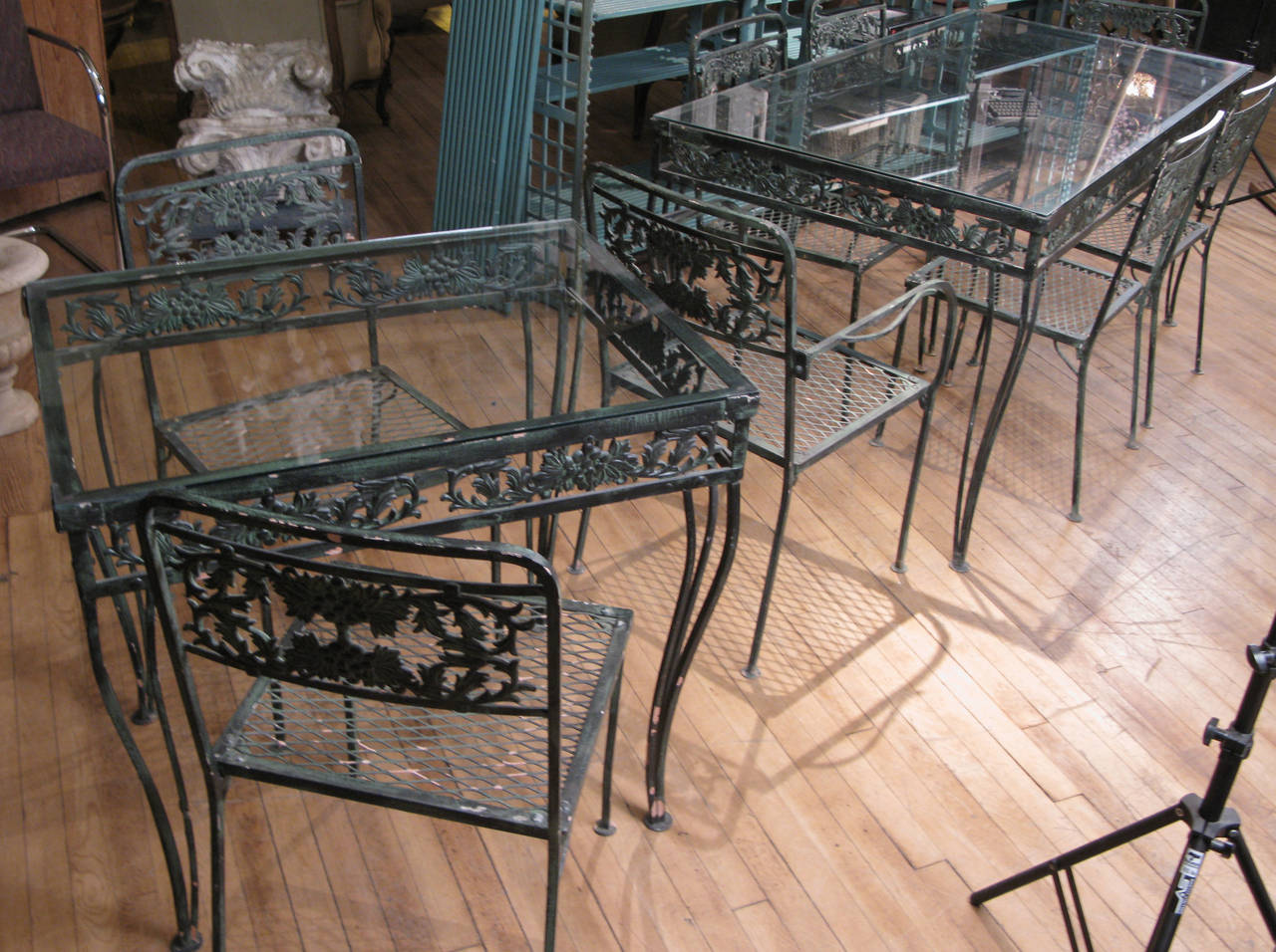 Vintage 1950s wrought iron garden set with two tables and - Vintage wrought iron chairs ...