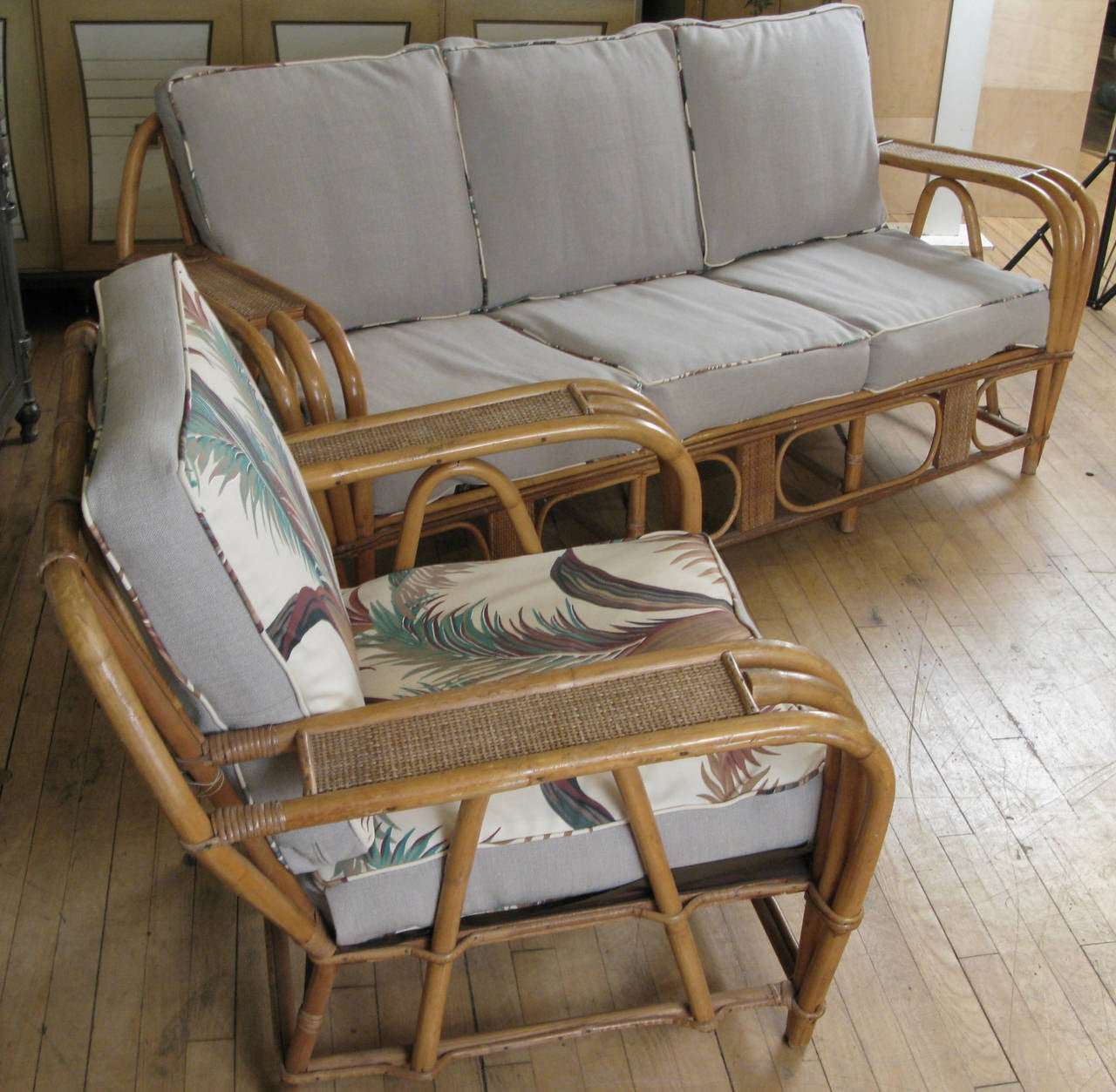 American Vintage 1940s Rattan Sofa And Chair With Reversible Cushions For