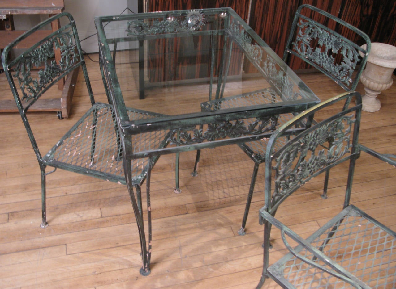 Vintage 1950s Wrought Iron Garden Set with Two Tables and Eight Chairs at 1st