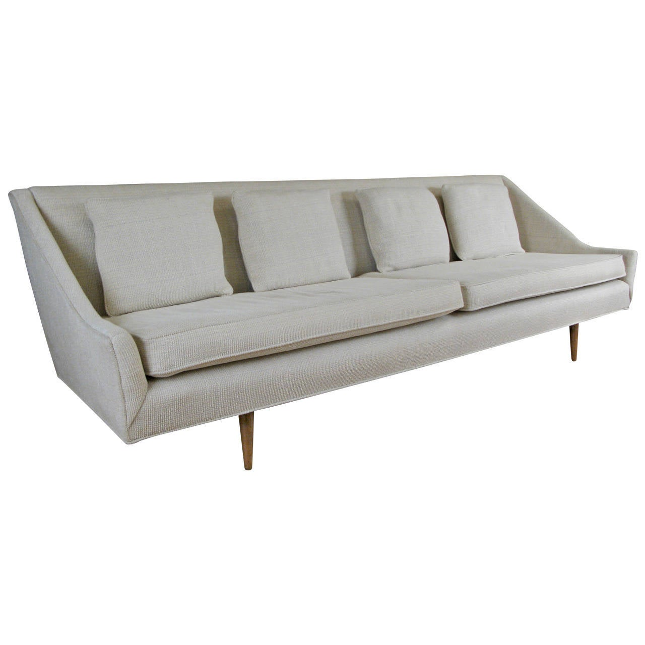 Vintage modern 1950s long sofa at 1stdibs for How long is a loveseat