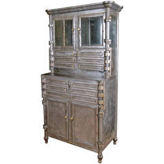 Antique Steel and Glass Medical Dental Cabinet