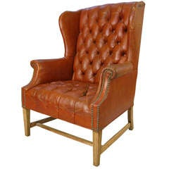 Vintage Tufted Leather Wing Chair