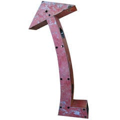 Monumental Antique Steel Arrow Sign in Original Red Paint