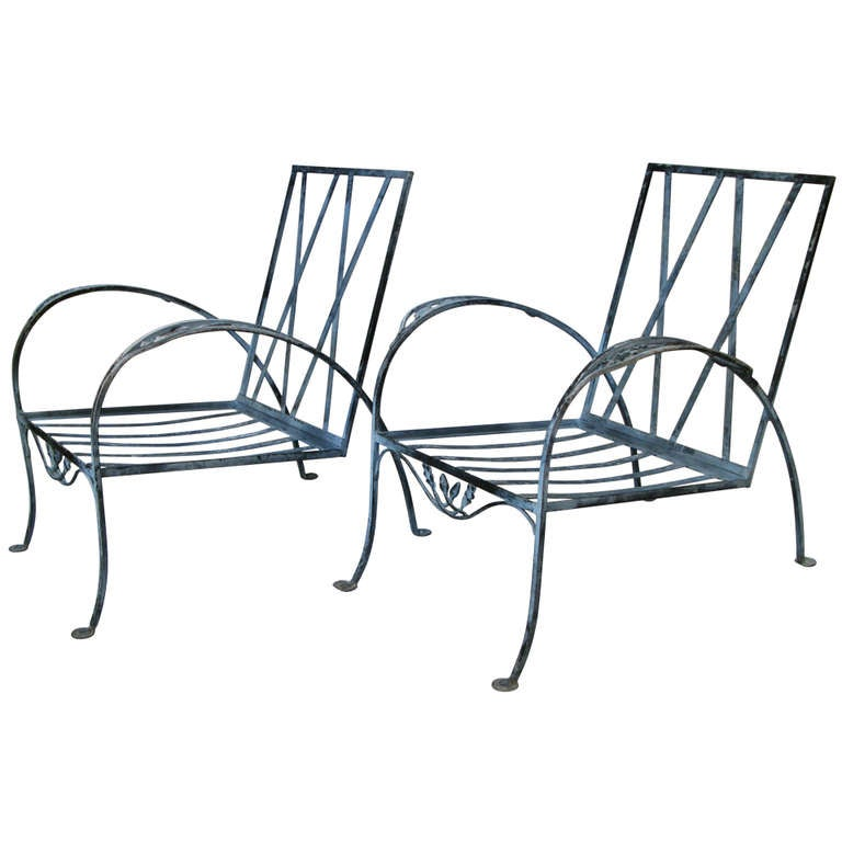 Pair of Iron Garden Lounge Chairs by Salterini at 1stdibs