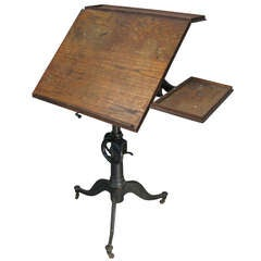Antique Cast Iron Industrial Drafting Table