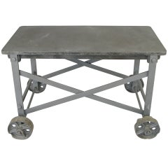 Antique Cast Iron & Steel Rolling Glass Blowing Table