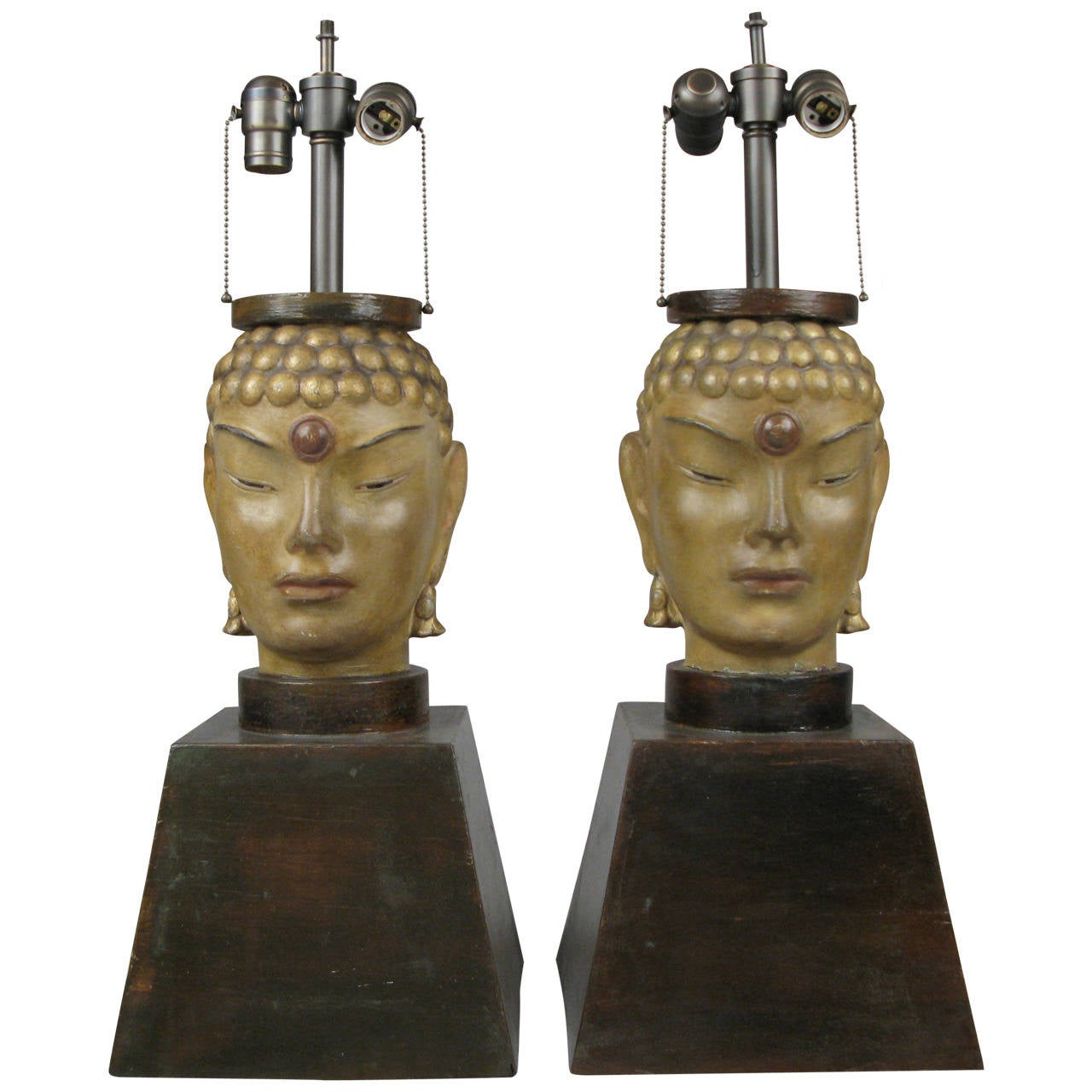 Pair of 1940s Buddha Lamps Attributed to James Mont