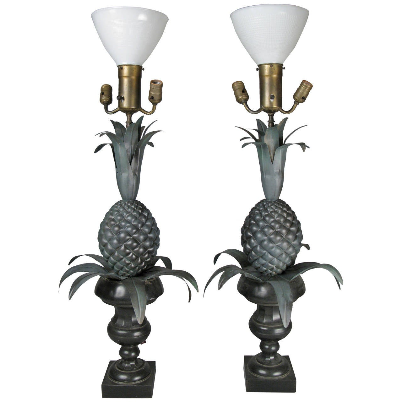 Vintage Pair of Large Pineapple Form Lamps