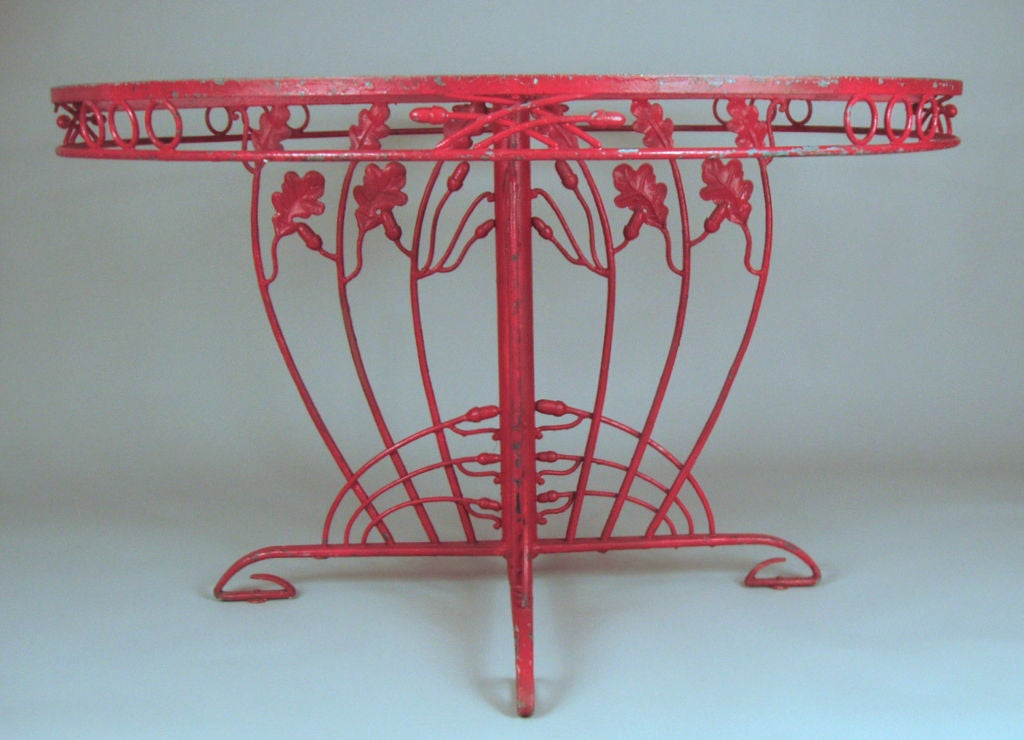 Vintage Iron Acorn & Oak Leaf Garden Table 3