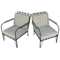 Pair of  Vintage Wrought Iron Lounge Chairs by Salterini