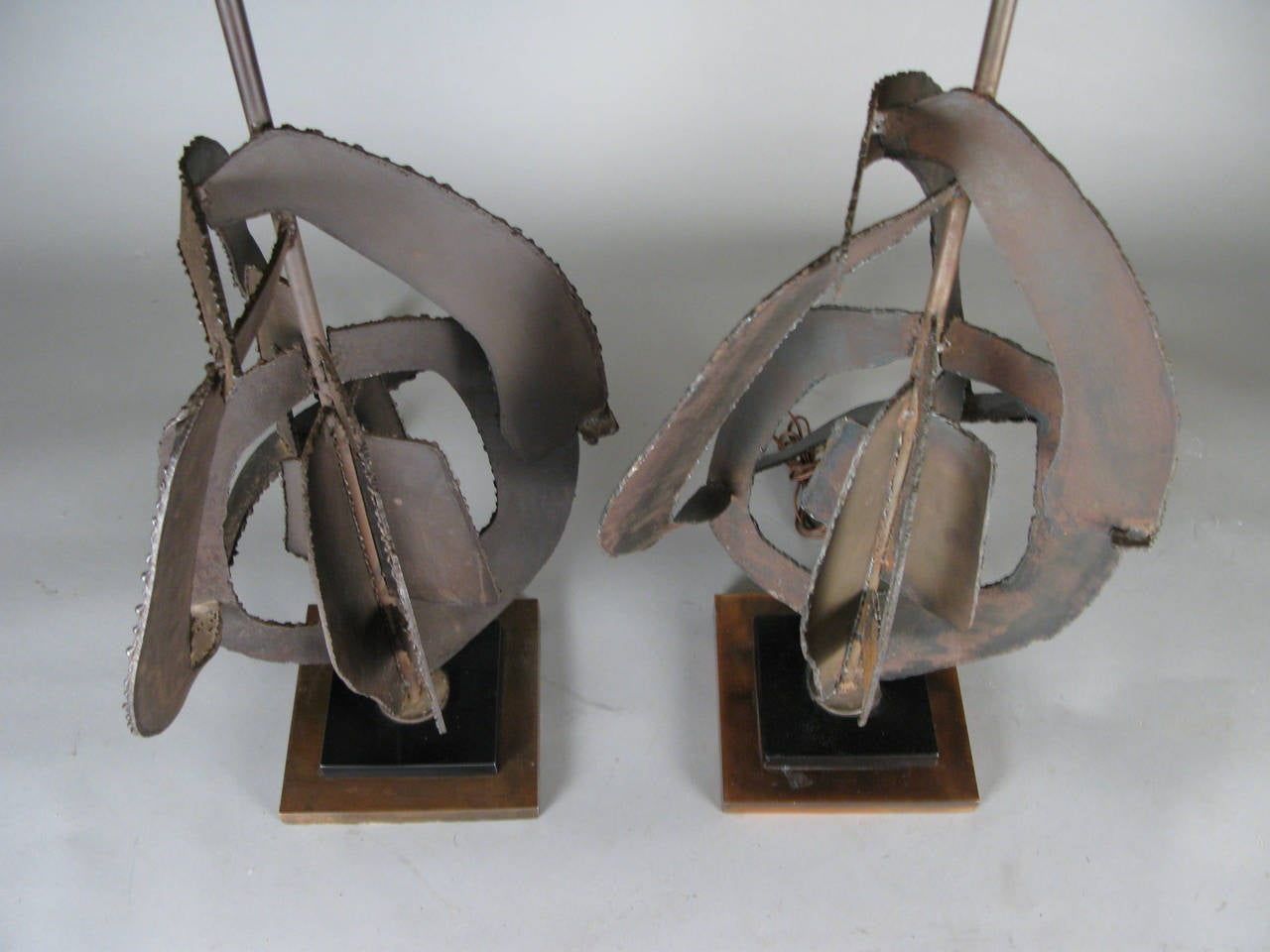 Brutalist Pair of 1960s Sculptural Iron Lamps by Harry Balmer For Sale