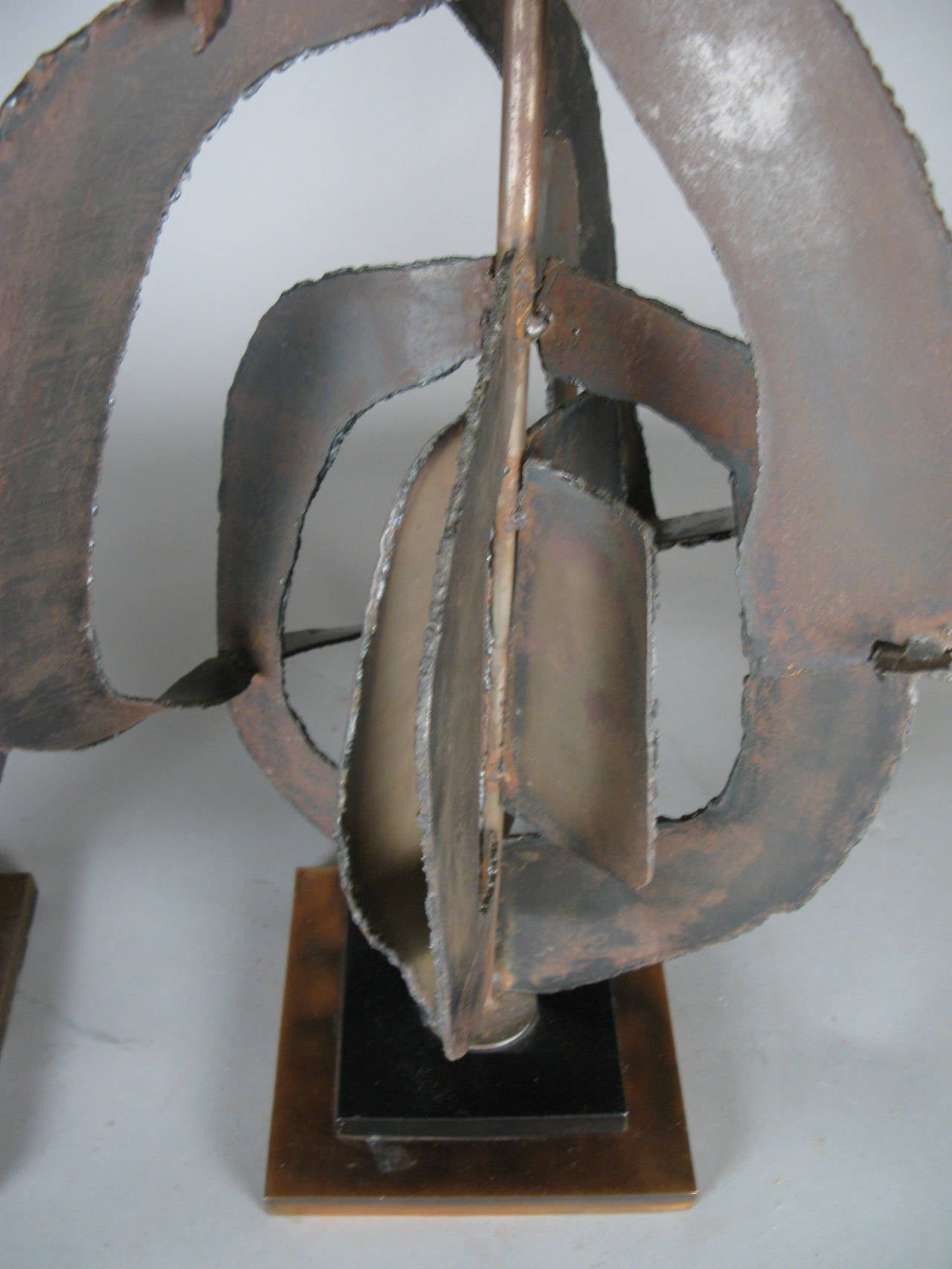 Pair of 1960s Sculptural Iron Lamps by Harry Balmer In Good Condition For Sale In Hudson, NY
