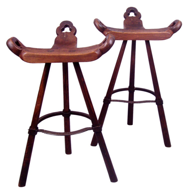 Pair Of Antique Rustic Iron Base Stools At 1stdibs