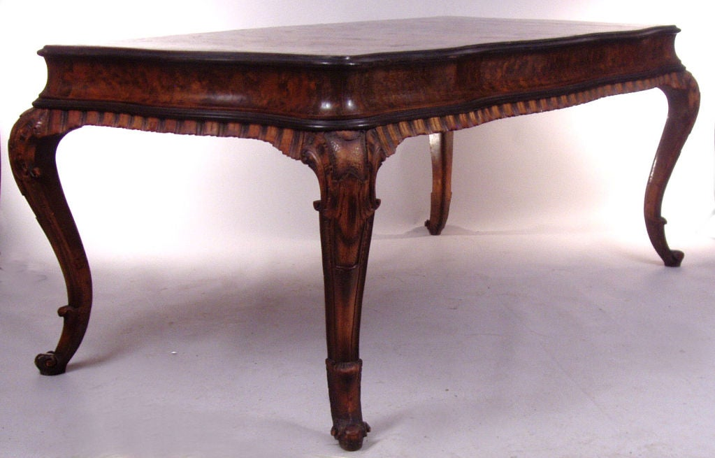 Antique Italian Rococo style Burled & Carved Table 2