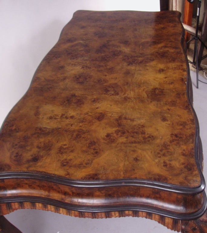 Antique Italian Rococo style Burled & Carved Table 3
