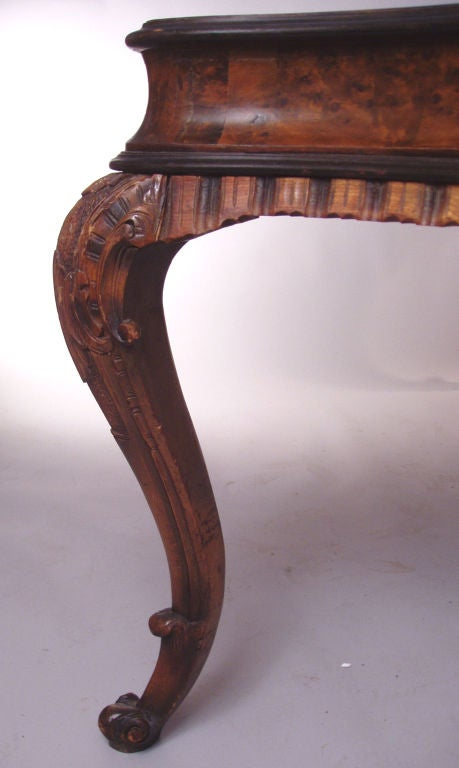 Antique Italian Rococo style Burled & Carved Table 5