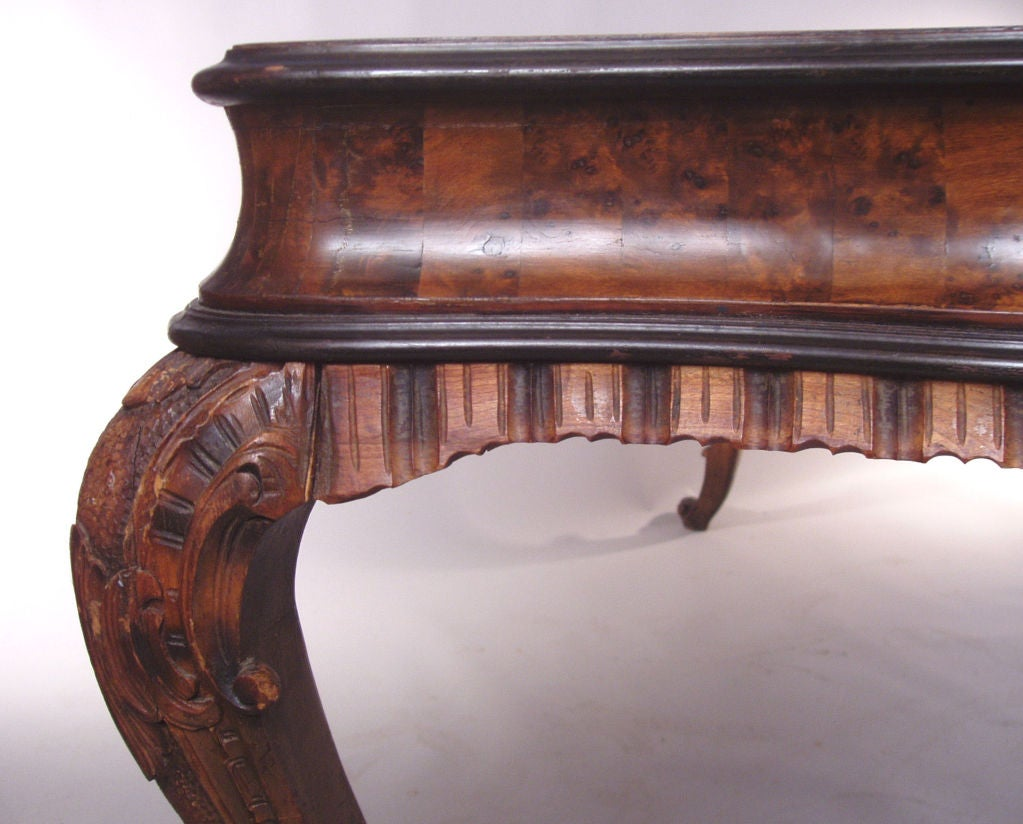 Antique Italian Rococo style Burled & Carved Table 6