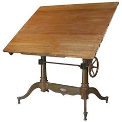 Antique Industrial Cast Iron Adjustable Drafting Table