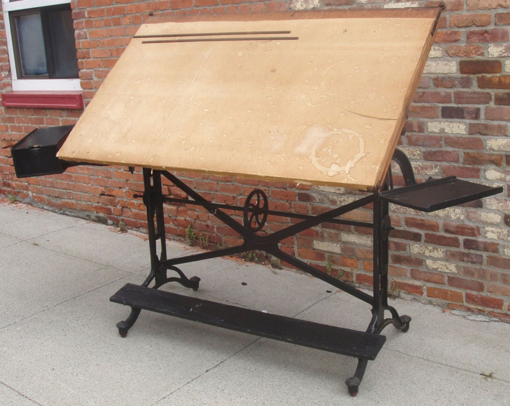 Antique Adjustable Keuffel U0026 Esser Cast Iron Drafting Table 2