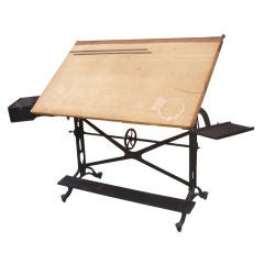 Antique Adjustable Keuffel & Esser Cast Iron Drafting Table