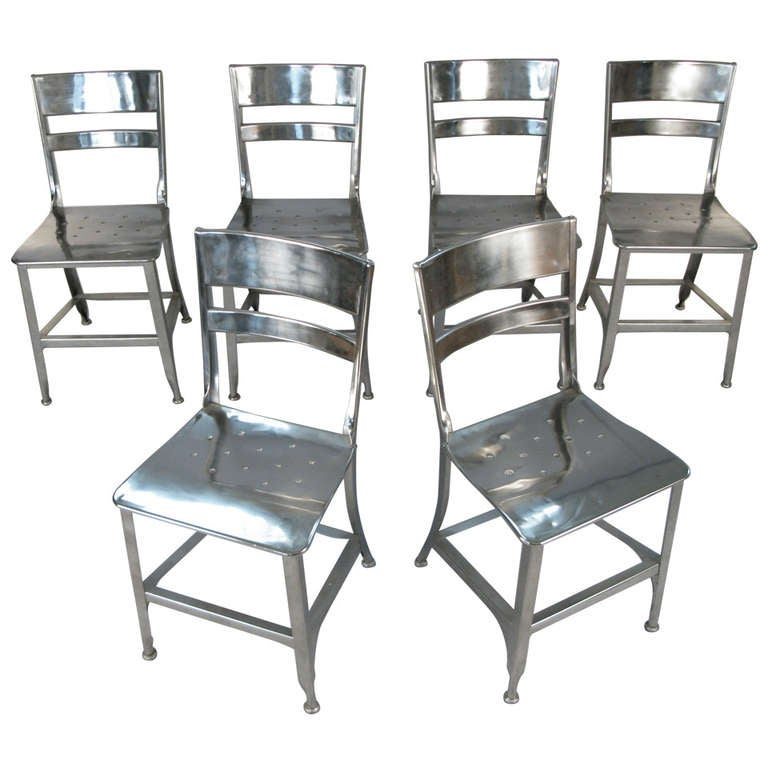 Set Of Six Vintage Nickel Plated Toledo Chairs At 1stdibs