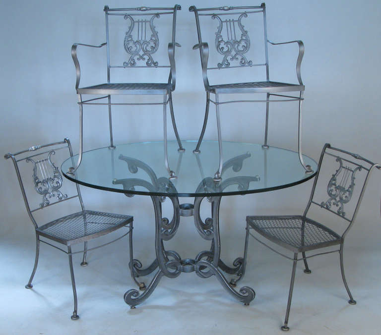 Vintage wrought iron dining set with lyre back chairs at - Vintage wrought iron chairs ...