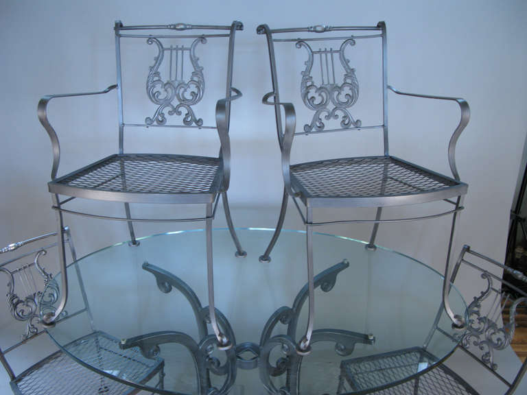 American Vintage Wrought Iron Dining Set With Lyre Back Chairs For
