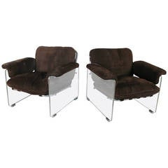 Pair of Vintage Argenta Lounge Chairs in Lucite and Chrome by Pace Collection