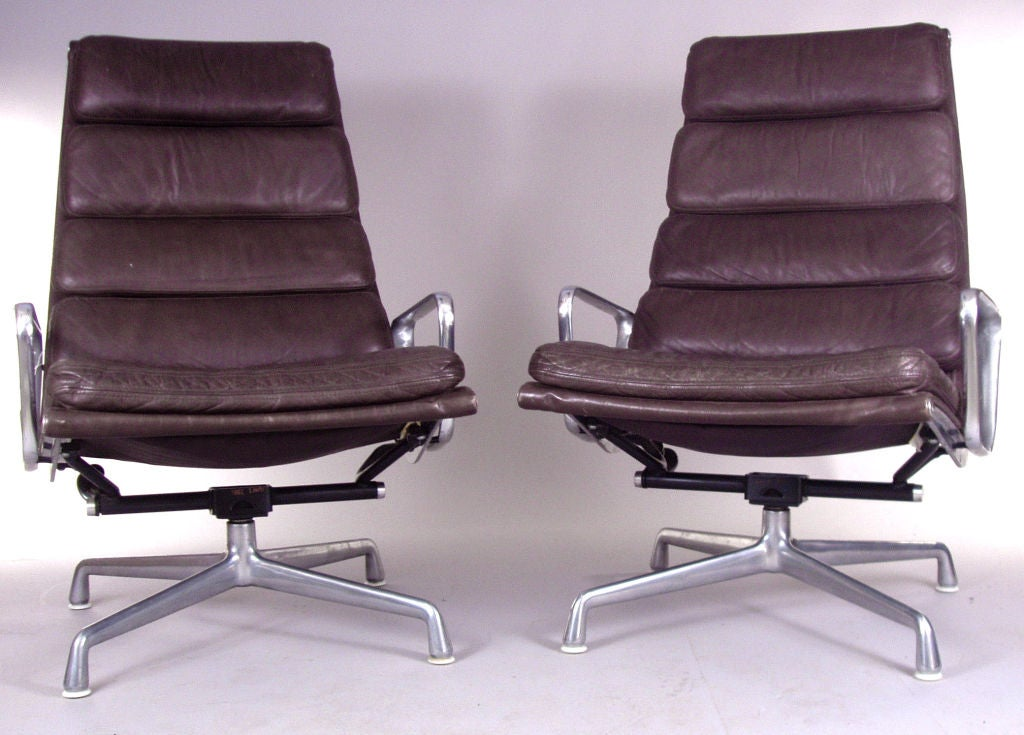 Pair Eames Herman Miller Aluminum Leather Lounge Chairs At