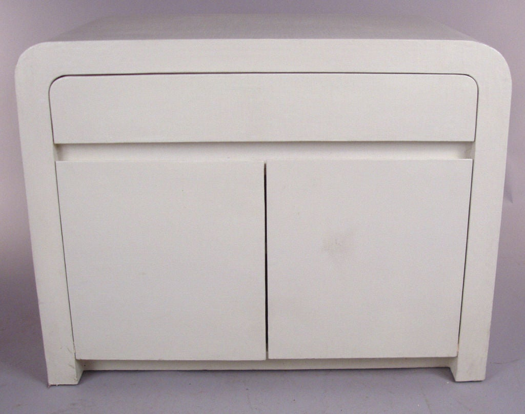 Pair Of Vintage Linen Wrapped Nightstands At 1stdibs